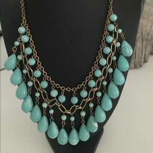 Statement necklace turquoise abs gold
